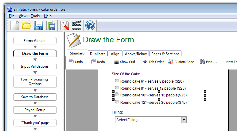 HTML form creator with drag and drop form design