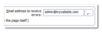 email address to receive errors