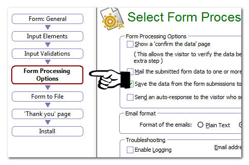 Form processing options page