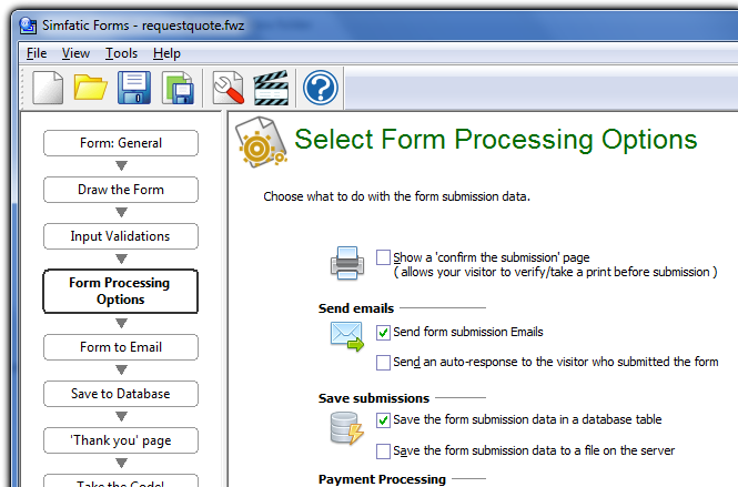 Simfatic Forms Form Processing Options