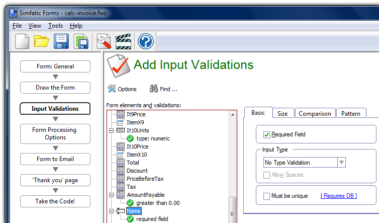 Add form validations