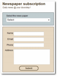 A simple news paper subscription form