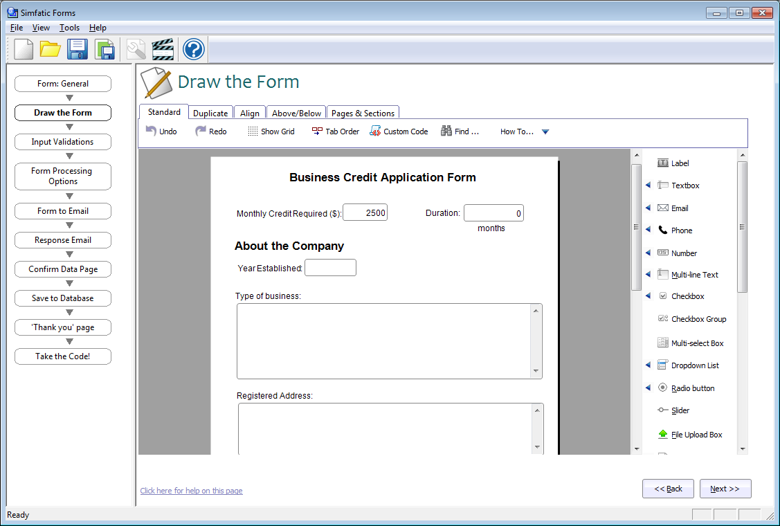 Simfatic Forms - web form builder with database support